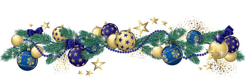 Christmas garland banner. Christmas garland and glitter full vector banner Stock Photo