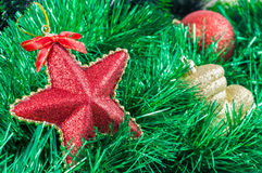 Christmas garland and baubles background Stock Image