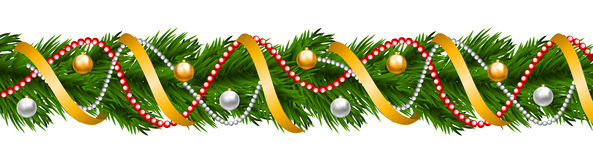 Christmas garland with baubles. And ribbons  on white Stock Photography