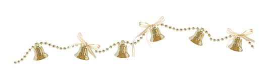 Christmas garland with bells and bows Stock Photos