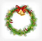 Christmas garland with bells and holly berry Stock Photos