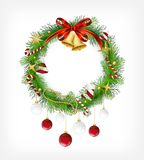 Christmas garland with bells and holly berry Royalty Free Stock Photos