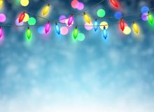 Christmas garland on blue background. Color Christmas garland of lights on blue background. Vector illustration Royalty Free Stock Photos