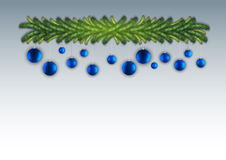 Christmas Garland. Blue balls hangign from the garland Stock Photo