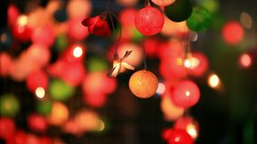 Christmas garland blurred lights background with stock footage