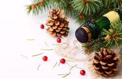 Christmas garland and a bottle of champagne. In the snow before Christmas, or New Year Royalty Free Stock Photos