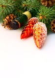 Christmas garland and a bottle of champagne Royalty Free Stock Photography