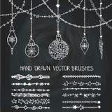 Christmas garland brushes,balls.Chalkboard Royalty Free Stock Photos