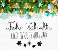 Christmas Garland, Calligraphy, Gutes Neues Means Happy New Year Royalty Free Stock Image