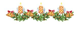 Christmas garland. Candles and christmas bells. Watercolor. Christmas garland of fir branches and mistletoe. Watercolor. Christmas decoration with candles and Stock Photos