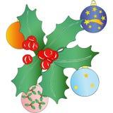 Christmas garland and Christmas balls Royalty Free Stock Images