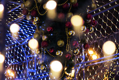 Christmas garland. Colorful bokeh with Christmas garland stock image