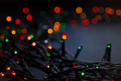 Christmas garland colorful bokeh background Stock Photography