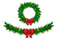 Christmas garland with colorful lights vector illustration isola Stock Images
