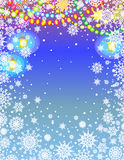 Christmas garland. Colorful Snowy Frame Stock Images