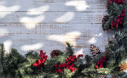 Christmas garland on country porch Royalty Free Stock Photo