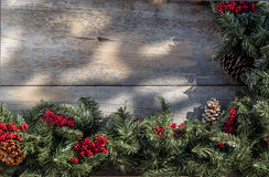 Christmas garland on country porch Stock Photography