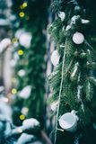 Christmas garland decorated cup. Door Garland Wreath Warm White LED Lights royalty free stock photo
