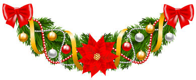 Christmas garland. Christmas decoration with fir-tree garland isolated on white Royalty Free Stock Photo
