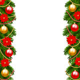 Christmas garland. Christmas decoration with fir-tree garland isolated on white Royalty Free Stock Photography
