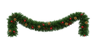 Christmas Garland Decoration. Isolated on white background. 3D render Royalty Free Stock Photo