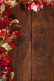 Christmas garland. Christmas decoration.Christmas garland  on rustic dark wooden background.Copy space Stock Photography