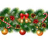 Christmas garland. Christmas decorations with fir tree and decorative elements. vector illustration Royalty Free Stock Image