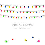 Christmas garland. Christmas electric garland on white background, illustration Stock Photography