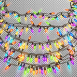 Christmas garland. EPS 10. Christmas garland, decorations glowing lights for Xmas. Bulb garland for New year ornaments. EPS 10 vector file included Royalty Free Stock Image