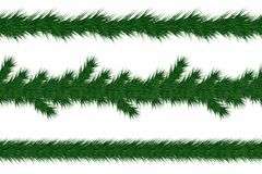 Christmas garland with fir branches. Set of green christmas tree branches borders isolated on white background. Holiday background. Vector Royalty Free Stock Photography