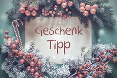 Christmas Garland, Fir Tree Branch, Genschenk Tipp Means Gift Tip royalty free stock photos