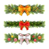 Christmas garland from fir tree branches. Vector illustration for your design Stock Images