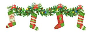 Christmas garland of spruce with reindeers, colorfull bulb. Christmas socks. Watercolor. Christmas garland of fir-tree with deer, brightly colored lamp Stock Photography