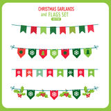 Christmas Garland And Flags Decoration Elements Set. Winter Holidays Vector. Royalty Free Stock Image
