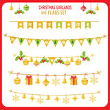 Christmas Garland And Flags Set. Winter Holidays Vector Clip Art On White Background. New Year Garland Decorations. Stock Image