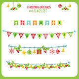 Christmas Garland And Flags Set. Winter Holidays Vector Clip Art On White Background. New Year Garland. Royalty Free Stock Images
