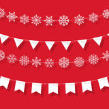 Christmas garland flat design. Greeting card Stock Images