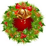 Christmas garland  frame. Isolated on white background Royalty Free Stock Image