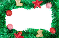 Christmas garland frame with baubles Royalty Free Stock Photo
