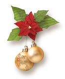 Christmas Garland From Balls With Poinsettia Stock Image
