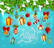 Christmas garland with gift and bell greeting card royalty free illustration