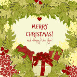 Christmas garland and gift boxes in cartoon style. Vector illustration Stock Images