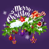 Christmas garland with gift greeting card design Royalty Free Stock Photos