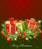 Christmas garland and gifts Stock Photography