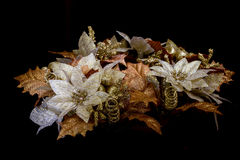 Christmas Garland with golden bronze and white flowers and leafs Royalty Free Stock Photos