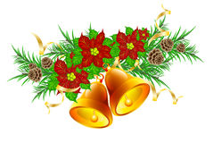Christmas garland with hand bells. Drawing of a Christmas garland with hand bells Stock Images