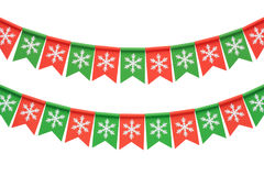 Christmas garland isolated on white background. Christmas garland of flags isolated on white background Royalty Free Stock Image