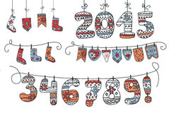 Christmas garland of knitted figures ,flags,socks. Funny New year 2015 Vector.Christmas cute garland of knitted figures,flags,socks .In doodles hand draw style Royalty Free Stock Image
