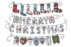 Christmas garland of knitted letters,flags,socks Royalty Free Stock Photos