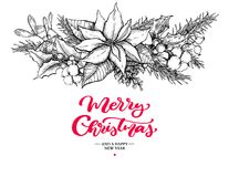 Christmas garland and lettering. Vector hand drawn illustration with holly, mistletoe, poinsettia, pine cone, cotton Stock Image